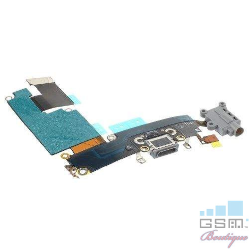 Banda Flex iPhone 6 Plus Cu Conector Incarcare, Microfon si Jack Audio Gri Originala