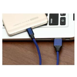Cablu Date Si Incarcare Micro USB Samsung Nokia Huawei Allview Universal Textil Albastru