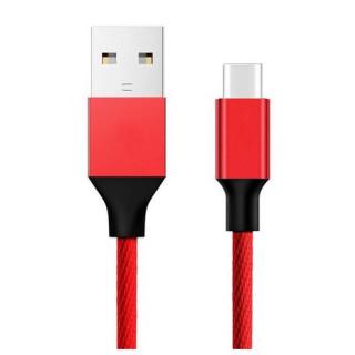 Cablu Date Si Incarcare USB Type C Samsung Huawei Allview Asus Textil Rosu