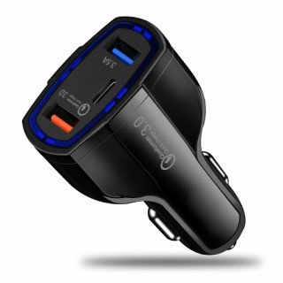 Incarcator Auto Samsung Galaxy M20 Dual USB Si USB Tip C Negru